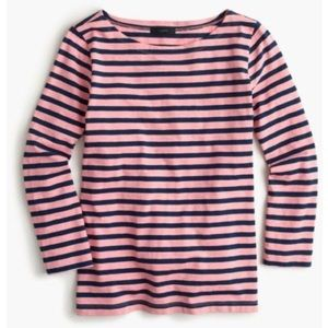 J. Crew Pink and Navy Striped 3/4 Top